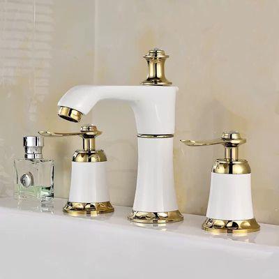 全铜分体式双把三孔龙头冷热洗脸盆洗手盆台盆水龙头可旋转四孔