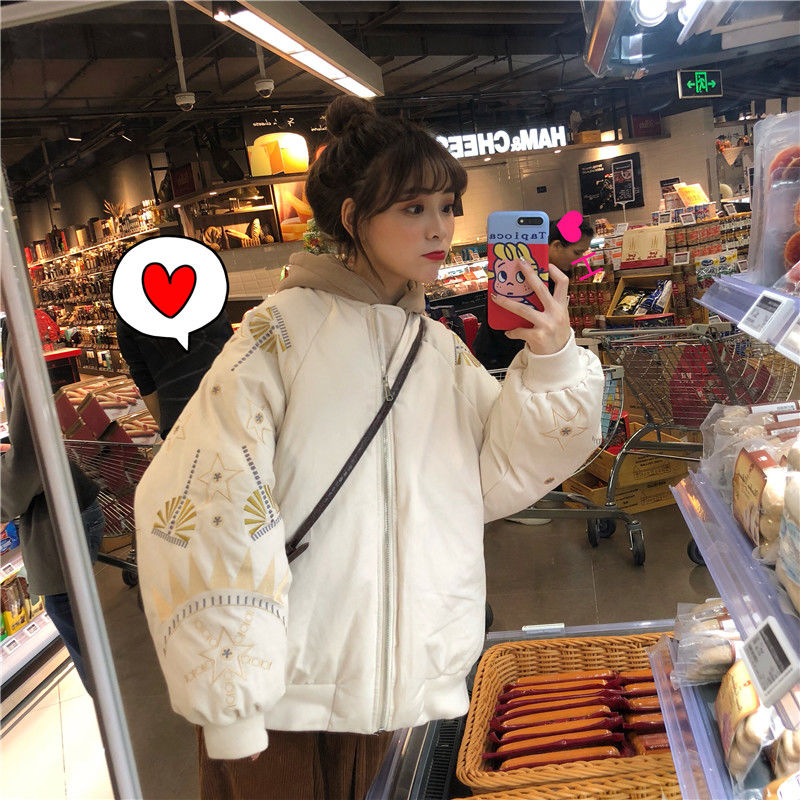 冬季宽松韩版圣诞刺绣加厚常规款棒球服夹克棉服外套女学生棉袄潮