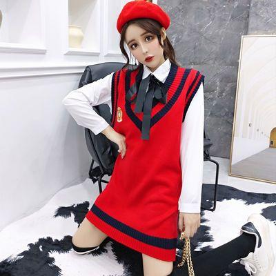 春秋季套装女学生韩版宽松时尚学院风V领毛衣马甲衬衫两件套潮