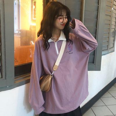 羊羔绒卫衣女boy情侣装秋季pl衫学生韩版胖妹新款加抓外套妈上冬