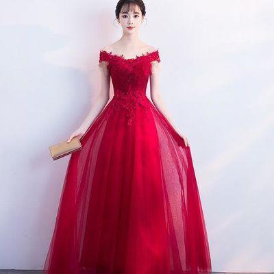 新娘敬酒服2018新款春夏长款显瘦结婚晚礼服裙女红色【2月29日发完】