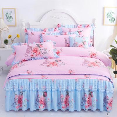 韩版床裙四件套公主风蕾丝床裙防棉床单被套被罩床上用品三4件套【3月2日发完】