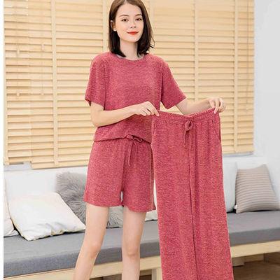 睡衣女夏季新款短袖阔腿裤三件套韩版学生束脚两件套装休闲家居服