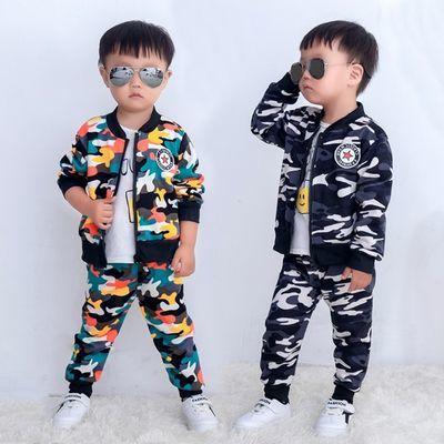 男童套装春秋款儿童加绒运动中小童宝宝衣服两件套迷彩幼儿园2019