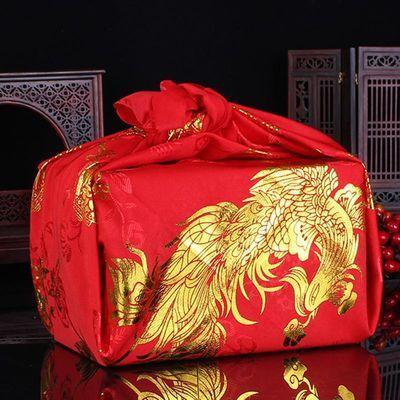 中式结婚红布包袱皮新娘陪嫁道具刺绣喜盆包裹布 婚庆用品