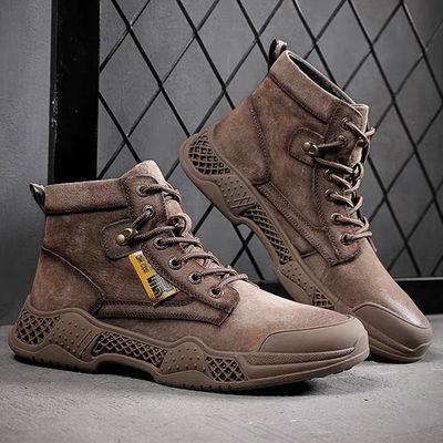 秋冬季真皮马丁靴男高帮鞋英伦风沙漠靴男靴子作战靴军靴男士短靴