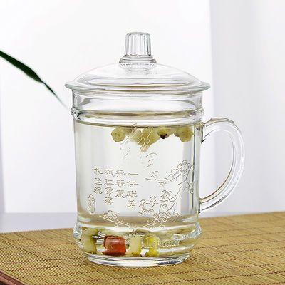 加厚耐热玻璃杯子带把带盖家用喝水泡茶杯办公室男士大号水杯透明