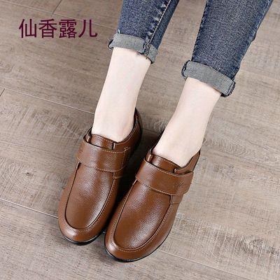 春季头层牛皮鞋软皮软底大码单鞋女士妈妈休闲鞋中年真皮平底套脚