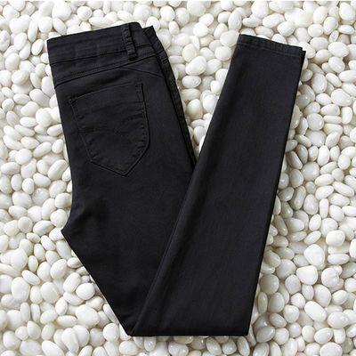 65621/黑色牛仔裤女2021春秋新款高腰小脚紧身显瘦韩版薄款弹力大码长裤