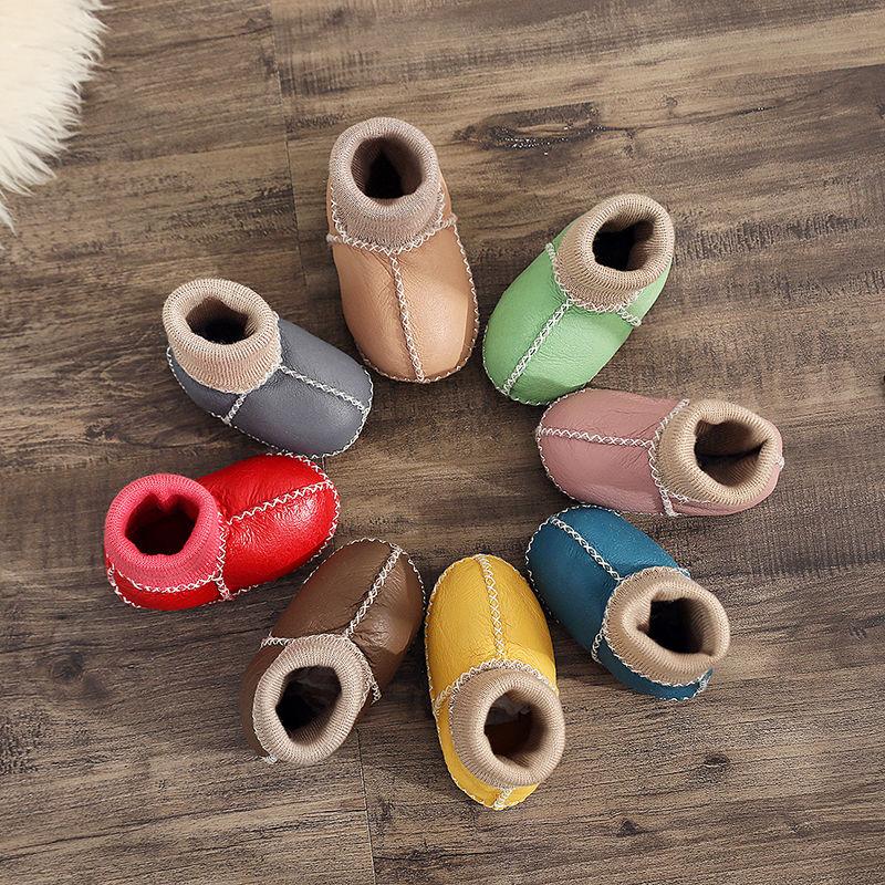 皮毛一体婴儿鞋软底0-6个月不掉学步棉鞋