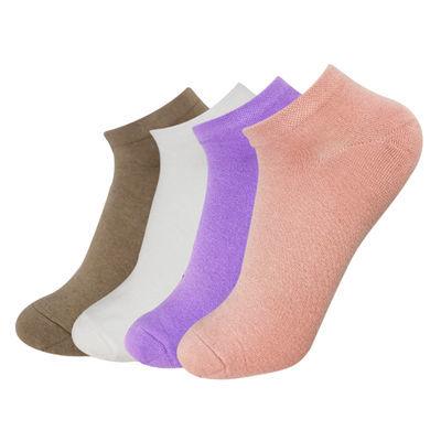美凌琳【4双】精品韩版纯色精梳棉女式短袜 高品质纯棉大码船袜女