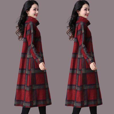 秋冬季新款毛呢连衣裙女高领过膝长裙大码遮肚胖MM打底裙加绒加
