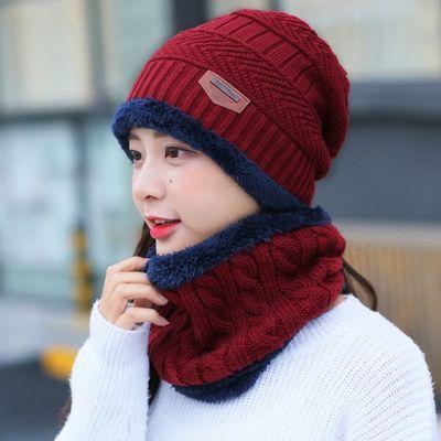 【帽子加厚+脖套加长】加绒加厚款毛线针织帽防风帽围脖冬针织帽