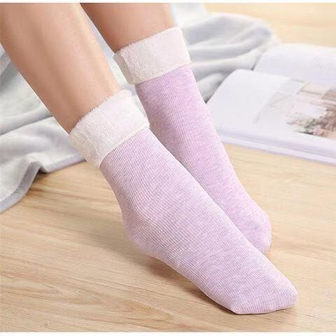 便宜的2-6双袜子女韩版棉竖条加绒加厚秋冬中筒地板袜男雪天月子保暖袜