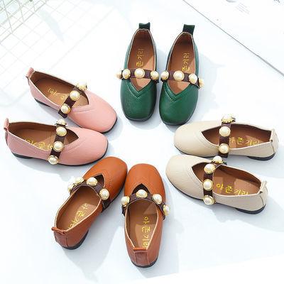 新款春秋季女童皮鞋方头豆豆鞋韩版小女孩公主鞋时尚潮流学生鞋