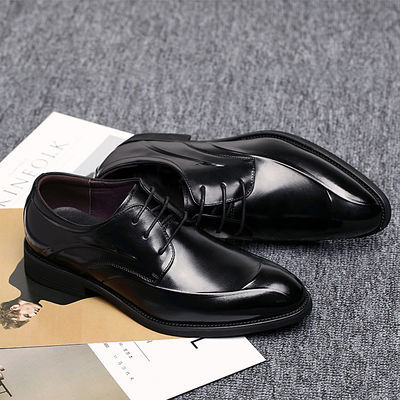 男皮鞋真皮男士商务正装英伦青年尖头系带头层牛皮黑色新郎结婚鞋