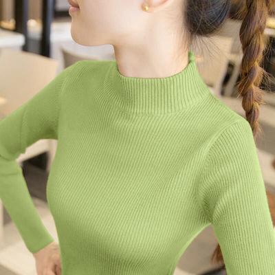 新款针织短款线衣衫女灰色打底衫女套头紧身款打毛衣春季半高领