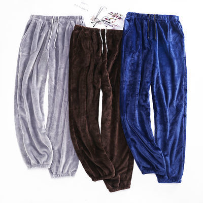 法兰绒睡裤女秋冬季大码宽松加厚长裤男士珊瑚绒家居裤收口束脚裤