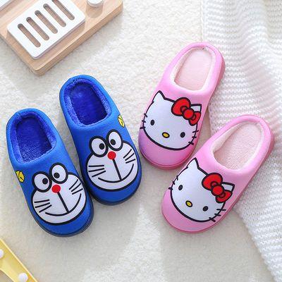 一家三口亲子保暖居家棉拖鞋男女童冬季小孩儿童室内卡通拖鞋潮