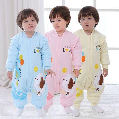 婴儿睡袋春秋纯棉薄款1保暖款0-6个月2岁3宝宝分腿防踢被连体睡衣【3月6日发完】