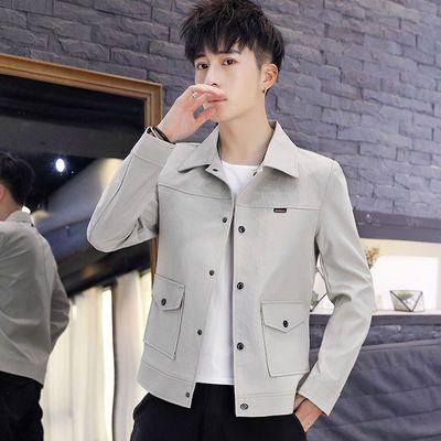 春秋季新款翻领男士夹克时尚潮男韩版青年百搭外套修身上衣