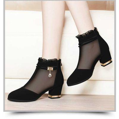 网纱女鞋高跟鞋女粗跟短筒女靴子女鞋秋冬季新款黑色鞋子女单鞋女