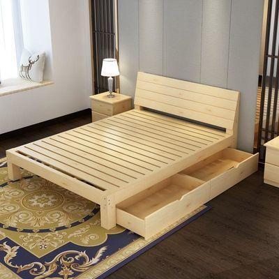 大婚床次卧简单一米1宽的单人床一米五的木床带储物公寓床