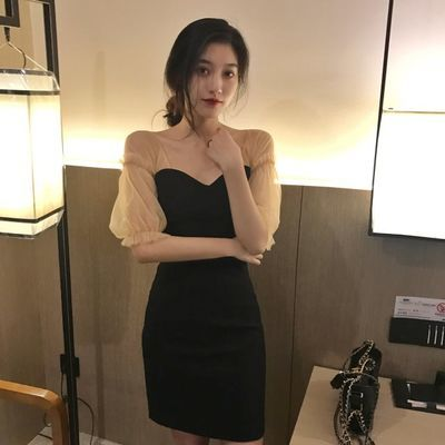 2019秋新款网纱灯笼袖性感酒吧女装显瘦夜场气质超仙女人味连衣裙