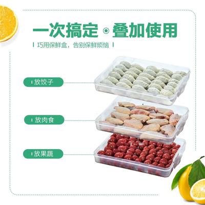 家用厨房冰箱收纳箱塑料密封盒饺子馄饨速冻保鲜盒水饺托盘储物盒