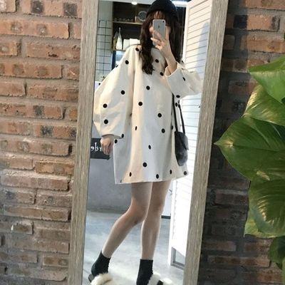 秋装韩版女装复古波点中长款灯笼袖长袖连衣裙宽松气质娃娃打底裙