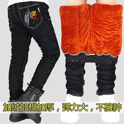 男童牛仔裤加绒加棉加厚一体绒三层加厚中大童夹棉裤子儿童棉裤潮