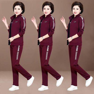 中老年妈妈装春秋季运动服套装女2020新款休闲大码女装韩版三件套