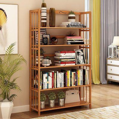 三年质保书柜书架简约现代竹子学生儿童组装置物架简易书架落地