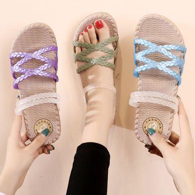 凉鞋女夏新款韩版学生平底凉拖鞋两穿网红罗马凉鞋防滑新款潮网红