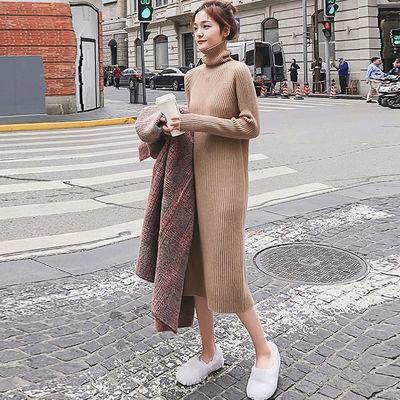女装高领针织裙秋冬季毛衣裙宽松加厚打底衫女长袖连衣裙2019新款