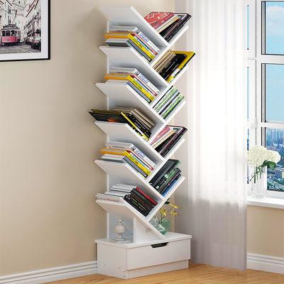 书架简约落地创意树形小书柜简易置物架储物柜子学生卧室家用架