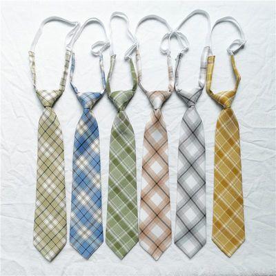 百褶裙同款领带日系JK学生学院风领带 格子复古短款免打ins领带女
