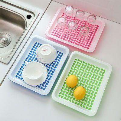 双层茶盘家用长方形托盘厨房沥水盘果盘水杯盘子塑料收纳盘【3月1日发完】