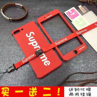 潮牌supreme苹果7/8手机壳6Splus磨砂全包oppor9/r11硬壳情侣男女