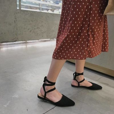 绑带大码女凉鞋
