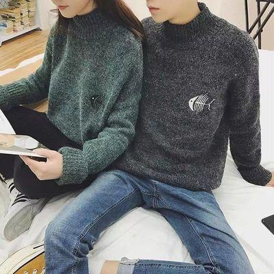【高品质】新款半高圆领毛衣男士韩版加厚针织衫宽松学生毛线衣潮