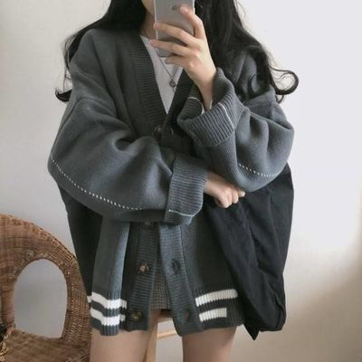 针织衫开衫女装秋冬韩版宽松学生V领毛衣外套洋气上衣针织衫外套