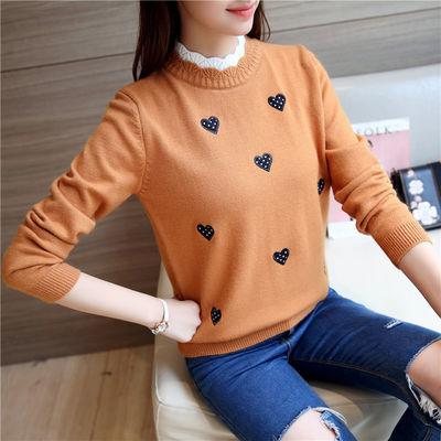 毛衣女秋冬季打底衫针织衫女学生短款可爱韩版刺绣宽松百搭假两件