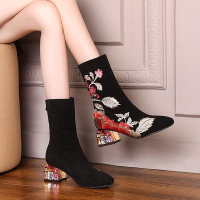 全牛皮刺绣中筒靴真皮女鞋春秋单靴中跟民族风花朵粗跟靴冬季棉靴