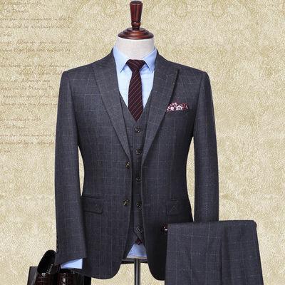 西装男套装 结婚新郎礼服 英伦格子休闲男士西服套装商务正装定制