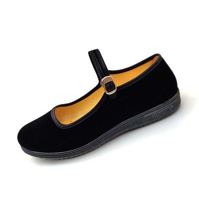 老北京布鞋女黑色一带平绒工作鞋女广场舞鞋妈妈鞋软底舒适平底鞋