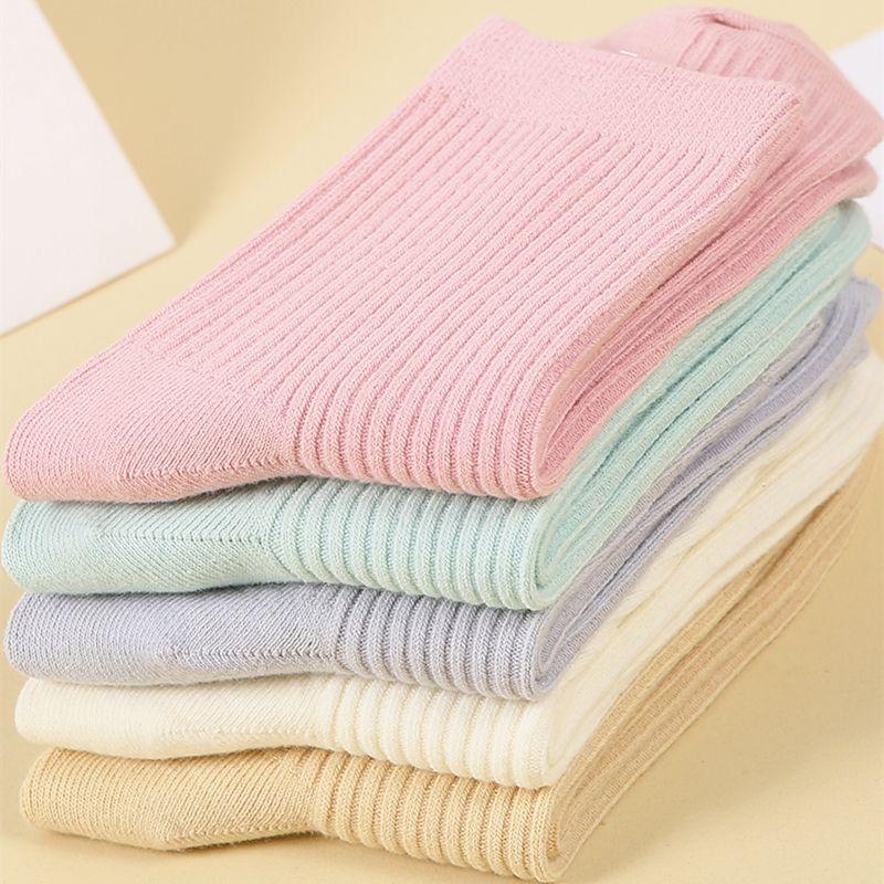 100%里外全棉袜子女韩版中筒纯棉袜秋冬加厚保暖女袜素雅休闲袜