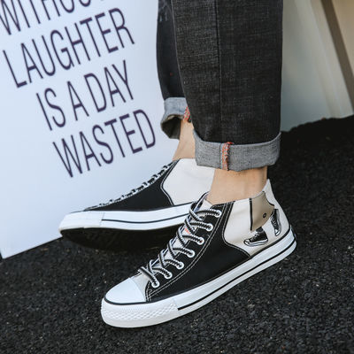 春季新款涂鸦男鞋流行街头韩版潮休闲板鞋学生百搭高帮帆布鞋男女