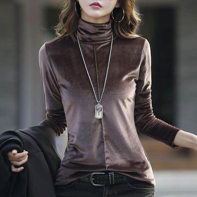 韩版范高领百搭内外穿长袖t恤女装2020新款打底衫上衣服秋冬季潮