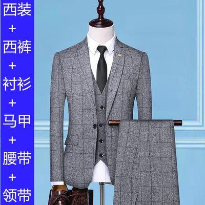 格子西服套装男韩版修身三件套青年休闲条纹帅气一套新郎结婚礼服